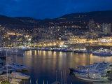 Waterfront at Night, Monte Carlo, Principality of Monaco, Cote d'Azur, Mediterranean, Europe Photographic Print by Sergio Pitamitz