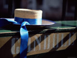 Close-up of Gondolier's Straw Hat and Blue Ribbon, Venice, Veneto, Italy, Europe Photographic Print by Oliviero Olivieri