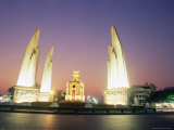 Democracy Monument at Night, Banglamphu, Bangkok, Thailand, Southeast Asia, Asia Photographic Print by Richard Nebesky