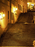 Snow Covered Radnicke Steps in Mala Strana Suburb at Night, Prague, Czech Republic, Europe Photographic Print by Richard Nebesky