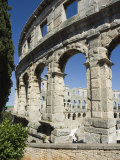 The 1st Century Roman Amphitheatre, Columns and Arched Walls, Pula, Istria, Croatia, Europe Photographic Print by Christian Kober