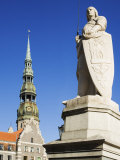 Statue of Roland and St. Peter's Church in the Old Town Square, Riga, Latvia, Baltic States, Europe Photographic Print by Chris Kober