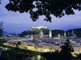 Festung (Fortress) Hohensalzburg at Twilight, Salzburg, Salzburgland, Austria, Europe Photographic Print by Richard Nebesky