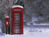 Red Letterbox and Telephone Box in the Snow, Highlands, Scotland, UK, Europe Photographic Print by David Tipling