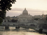 St. Peter's Basilica from Across the Tiber River, Rome, Lazio, Italy, Europe Photographic Print by James Gritz
