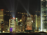 Hong Kong Island Central Skyline at Night from Tsim Sha Tsui, Hong Kong, China, Asia Photographic Print by Richard Nebesky
