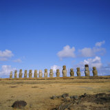 Line of Statues, Ahu Tongariki, Easter Island, Chile Photographic Print by Geoff Renner