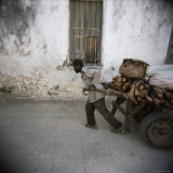 Man Pulling Cart Along Narrow Street, Stone Town, Zanzibar, Tanzania, East Africa, Africa Photographic Print by Lee Frost