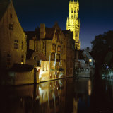 The Belfry of Belfort-Hallen Illuminated at Night, Bruges, Unesco World Heritage Site, Belgium Photographic Print by Lee Frost