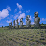 Ahu Akivi, Unlike Most Statues These are Inland and Face the Sea, Easter Island, Chile, Pacific Photographic Print by Geoff Renner