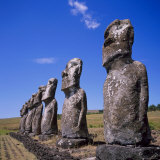 Statues at Ahu Akivi on Easter Island, Chile, Pacific Photographic Print by Geoff Renner
