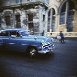 Panned Shot of an Old Blue American Car, Havana, Cuba, West Indies, Central America Photographic Print by Lee Frost