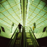 Man on Escalator, Charles De Gaulle Airport, Paris, France, Europe Photographic Print by Lee Frost