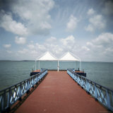 Red Pier and the Caribbean Sea, Cienfuegos, Cuba, West Indies, Central America Photographic Print by Lee Frost