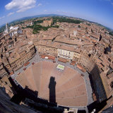 Aerial View of the Piazza Del Campo and the Town of Siena, Tuscany, Italy Photographic Print by Tony Gervis