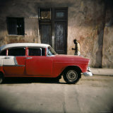 Old Red Car, Havana, Cuba, West Indies, Central America Photographic Print by Lee Frost