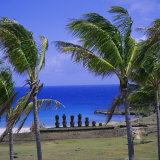 Anakena Beach with Ahu Nau Nau, Easter Island, Chile, Pacific Photographic Print by Geoff Renner