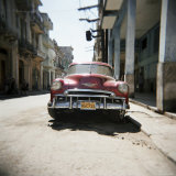 Old Red American Car, Havana, Cuba, West Indies, Central America Photographic Print by Lee Frost