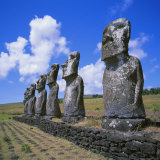 Ahu Akivi, an Inland Ahu, Easter Island, Chile, Pacific Photographic Print by Geoff Renner