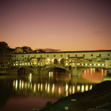 Reflections of the Ponte Vecchio Dating from 1345, Tuscany, Italy Photographic Print by Christopher Rennie