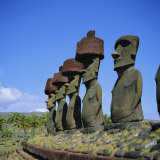 Ahu Nau Nau at Anakena Beach, Easter Island, Chile Photographic Print by Geoff Renner
