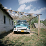 Old Green American Car on Farm Near Vinales, Cuba, West Indies, Central America Photographic Print by Lee Frost
