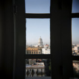 View of the Capitolio from the Restaurant Window of the Hotel Seville, Havana, Cuba Photographic Print by Lee Frost