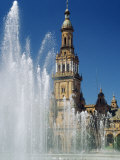 Fountains in the Plaza De Espana, Seville, Andalucia (Andalusia), Spain, Europe Photographic Print by James Emmerson