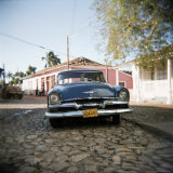 Old Blue American Car, Trinidad, Cuba, West Indies, Central America Photographic Print by Lee Frost