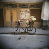 Bicycle with Flowers in Basket, Havana Centro, Havana, Cuba, West Indies, Central America Photographic Print by Lee Frost