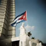Cuban Flag and Jose Marti Memorial, Plaza De La Revolucion, Havana, Cuba, West Indies Photographic Print by Lee Frost