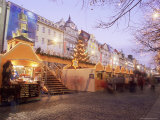 Christmas Market and Christmas Tree in Wenceslas Square, Nove Mesto, Prague, Czech Republic Photographic Print by Richard Nebesky