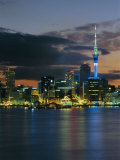 Evening View of City Skyline Across Harbour, Auckland, Central Auckland, North Island, New Zealand Photographic Print by Neale Clarke