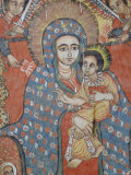 Mural of Jesus and Mary, Gondar, Ethiopia Photographic Print by J P De Manne