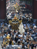 Mikoshi Portable Shrine of the Gods Parade and Crowds of People, Tokyo, Japan Photographic Print by Chris Kober