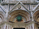Gothic Detail on the Facade of the Duomo, Including the Sun Symbol, Siena, Tuscany, Italy Photographic Print by Fraser Hall