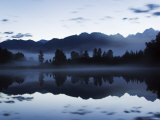 Lake Matheson at Night Reflecting a Near Perfect Image of Mount Tasman, Pacific Photographic Print by Chris Kober