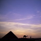 Camel and Pyramid in Silhouette, Giza, Near Cairo, Egypt, North Africa, Africa Photographic Print by Sylvain Grandadam