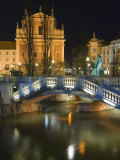 Tromstovje Triple Bridge Over the River Ljubljanica, Slovenia, Eastern Europe Photographic Print by Chris Kober
