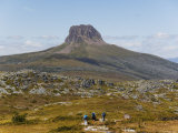 Hikers on the Overland Track in Cradle Mountain Lake St. Clair National Park, Tasmania, Australia Photographic Print by Christian Kober