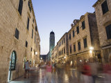 Old Town Placa Pedestrian Promenade and Bell Tower, Dalmatia, Croatia Photographic Print by Chris Kober