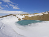 Snow Covered Frozen Viti (Hell) Crater Near Krafla Power Plant, Iceland, Polar Regions Photographic Print by Neale Clarke