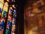 Stained Glass Window Throwing Light on Fresco, St. Vitus Cathedral, Prague, Czech Republic Photographic Print by Richard Nebesky