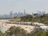Beach Scene with Beach Huts at Brighton Beach, Brighton, Victoria, Australia Photographic Print by Richard Nebesky