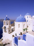 Domes and Bell Tower of Blue and White Christian Church, Oia, Santorini, Aegean Sea, Greece Photographic Print by Sergio Pitamitz