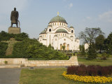 Monument in Front of St. Sava Orthodox Church Dating from 1935, Serbia, Europe Photographic Print by Chris Kober