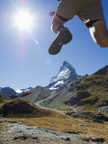 Hiker Running on Trail and the Matterhorn, 4477M, Zermatt Alpine Resort, Swiss Alps, Switzerland Photographic Print by Chris Kober