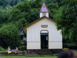 Protestant Church, Vaitahu Bay, Tahuata Island, Marquesas Islands Archipelago, French Polynesia Photographic Print by J P De Manne