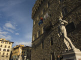 Marble Statue Copy of Michael Angelos David, Piazza Della Signoria, Florence, Tuscany, Italy Photographic Print by Chris Kober