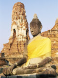 Sitting Buddha Statue and Chedi at Buddhist Temple of Wat Phra Mahathat, Thailand, Southeast Asia Photographic Print by Richard Nebesky